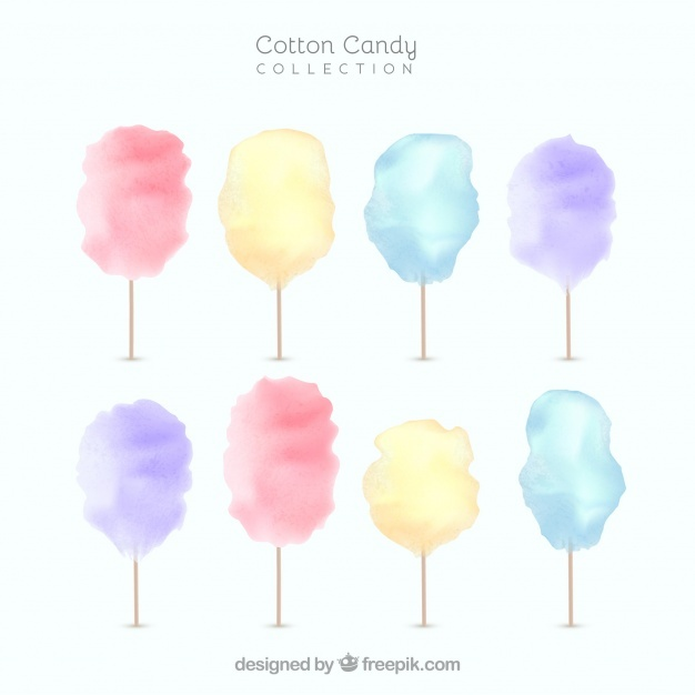 626x626 Set Of Watercolor Cotton Candy Vector Free Download