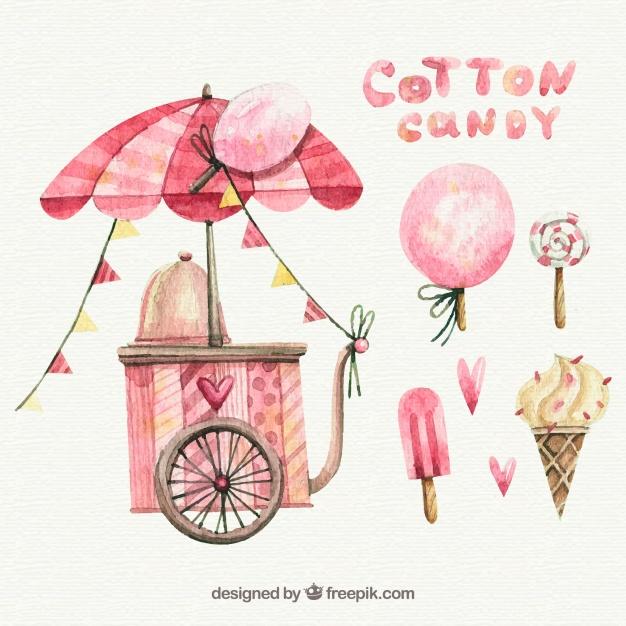 626x626 Watercolor Cotton Candy Cart, Lollipop And Ice Creams Vector