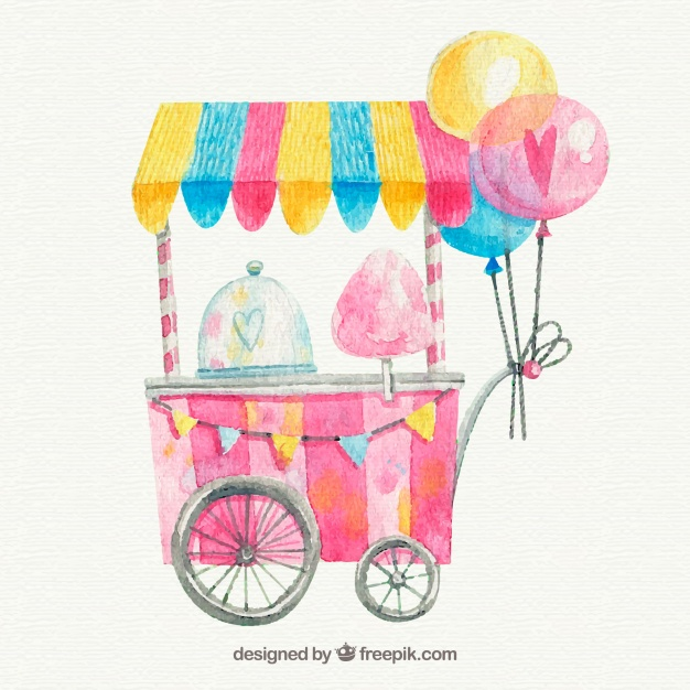 626x626 Watercolor Cotton Candy Cart With Balloons Vector Free Download