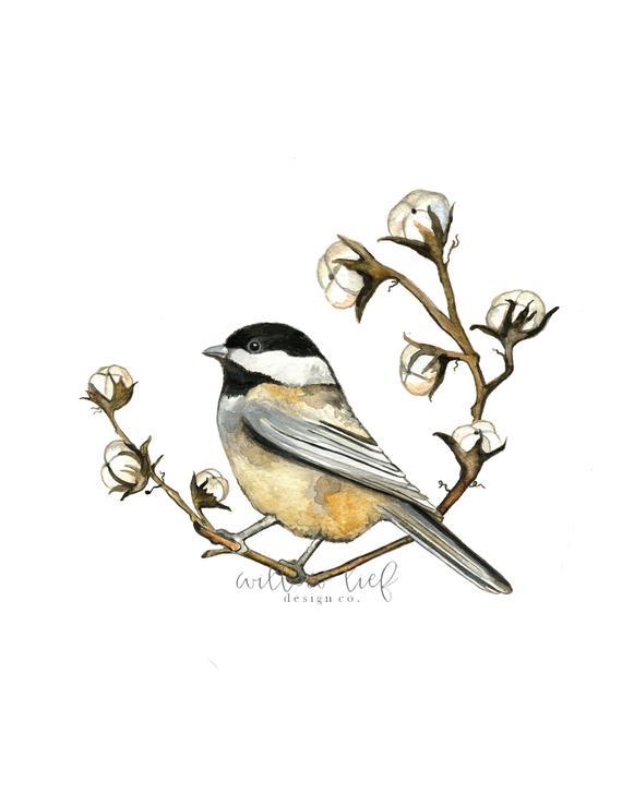570x738 Cotton Chick Bird Art Bird Print Wall Art Watercolor Etsy
