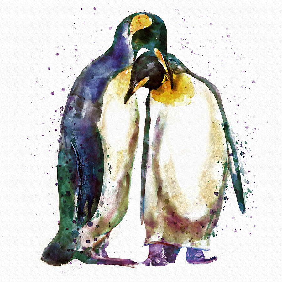 900x900 Penguin Couple Painting By Marian Voicu