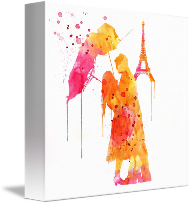 606x650 Watercolor Love Couple In Paris By Marian Voicu