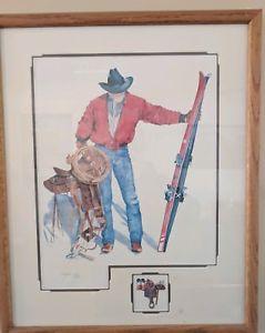 239x300 Karen Rae Cowboy Watercolor Signed Print Ebay