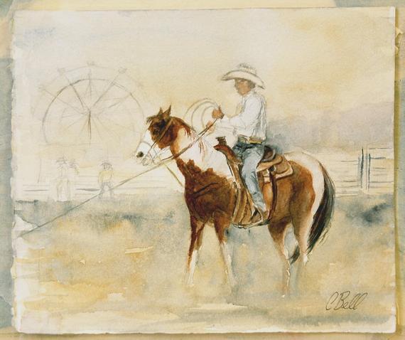 570x478 Original Cowboy Painting Original Cowboy Sketch Cowboy Etsy