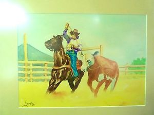 300x225 1949 Western Rodeo Cowboy Artist Lutzow Signed Watercolor Titled
