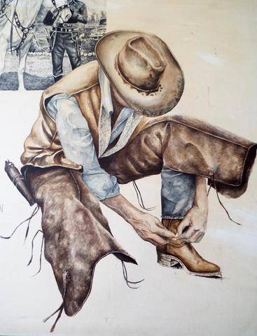 367x480 Signed Western Cowboy Watercolor Painting By M Martin Yesteryear