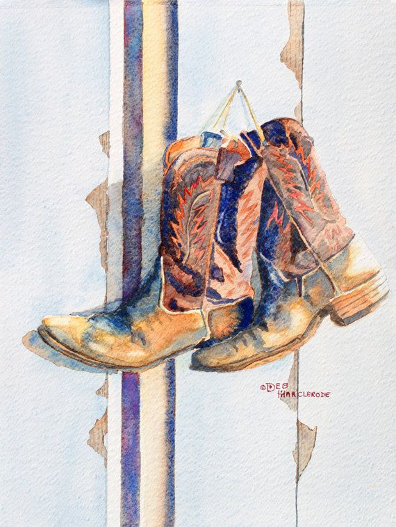 570x758 Art, Watercolor Painting,men,cowboy Boots Art Print, Print Of