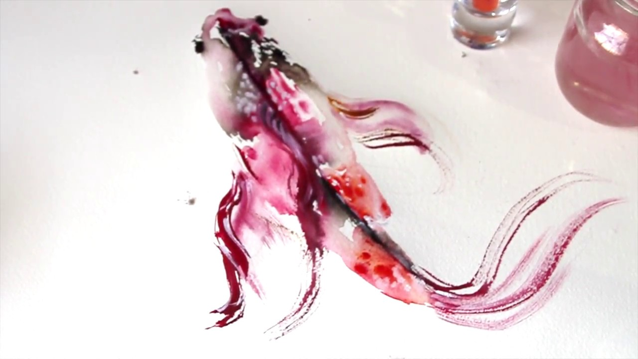 1280x720 Watercolor Tutorial Koi Fish Painting Wet To Wet Technique