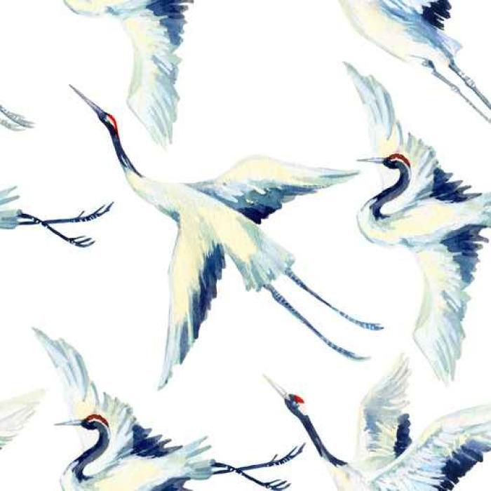 700x700 Watercolor Asian Crane Bird Seamless Pattern Wall Mural Pixers
