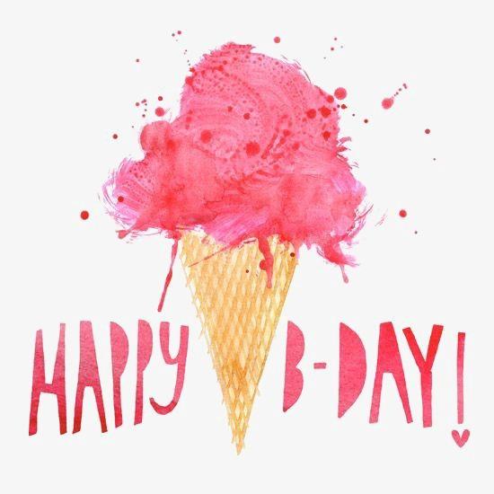 550x550 Ice Cream, Watercolor Ice Cream, Happy Birthday, Happybrithday Png