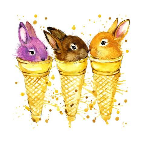 473x473 Funny Rabbit And Ise Cream Watercolor Illustration Posters By