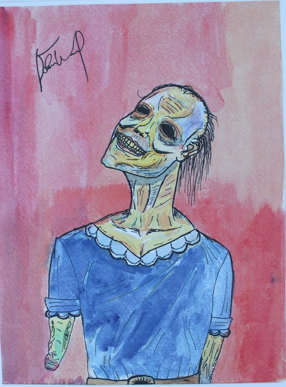 570x771 Dead Girl Original Horrorcreepysurreal Watercolor Painting Etsy