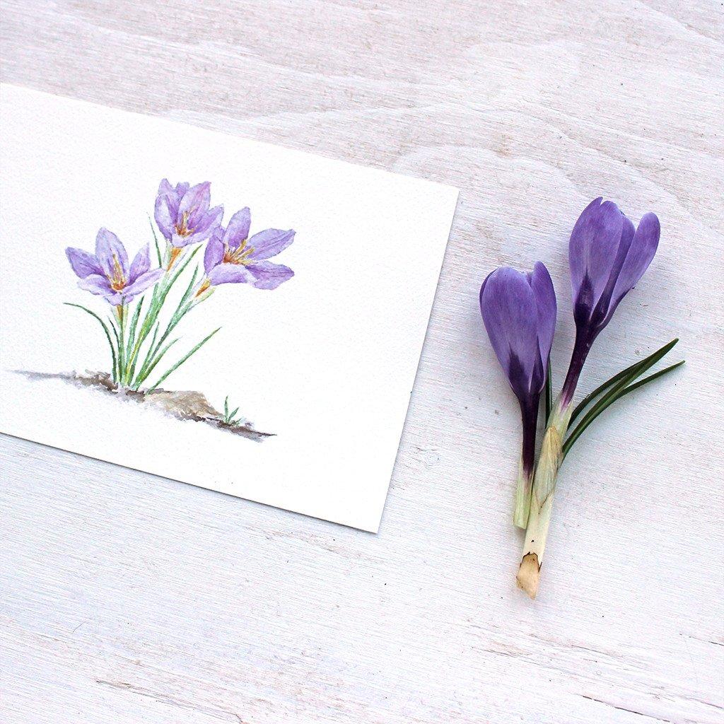 1024x1024 Purple Crocus Watercolor Print Trowel And Paintbrush