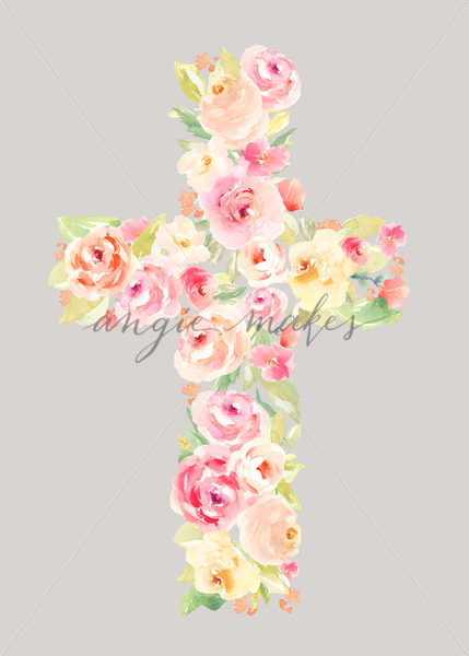 429x600 Painted Flowers Cross. Cross Made Of Watercolor Flowers. Easter