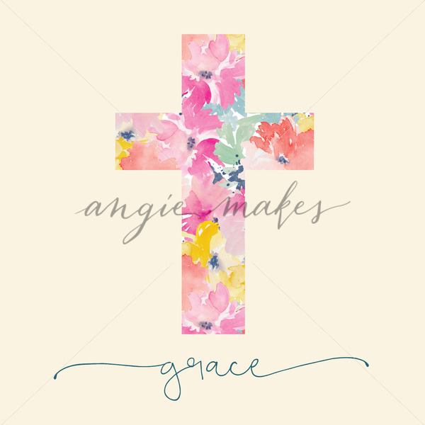 600x600 Adorable Grace Printable With Watercolor Cross And Grace