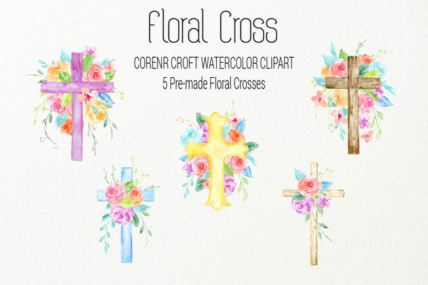 600x399 Watercolor Clipart Floral Cross, Blue, Pink And Purple Crosses