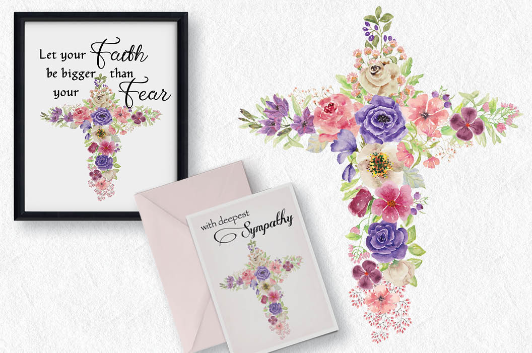 1056x701 Watercolor Floral Cross In Rainbow Shades