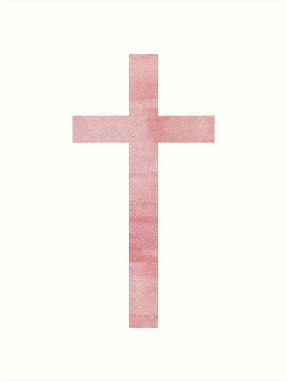 413x549 Christian Cross Pink Watercolor Art Prints By Walk By Faith