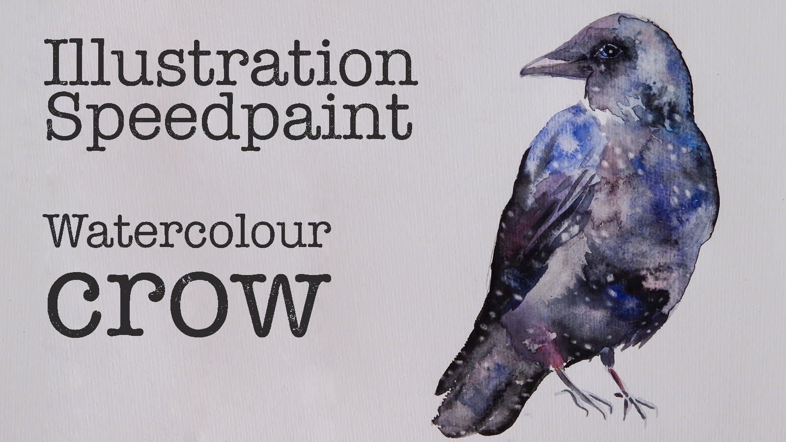 1600x900 Watercolour Crow Speed Paint