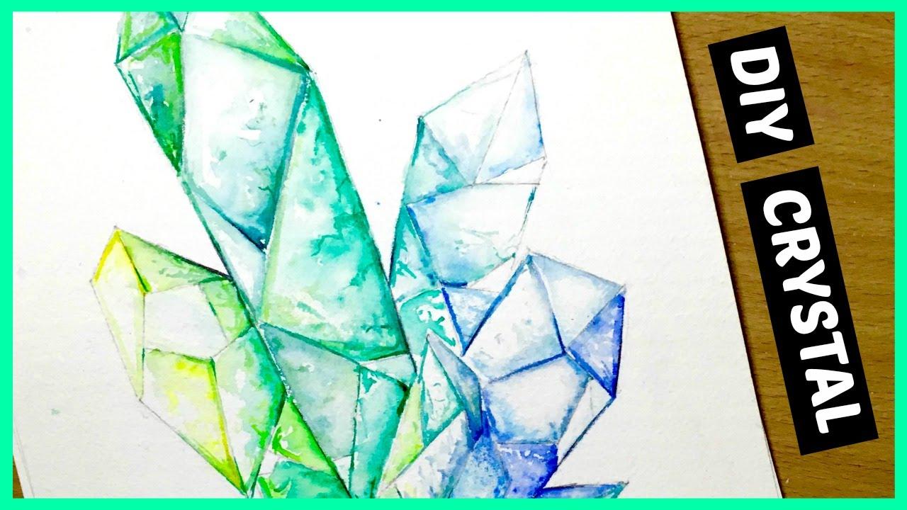 1280x720 Diy Crystal Clustergemstone Watercolor Speed Painting (