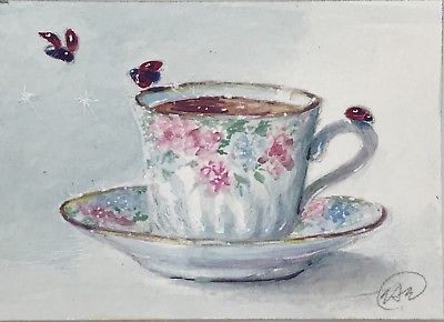 400x290 Aceo Tea Cup Watercolor Painting Original Floral Teacup Fine Art