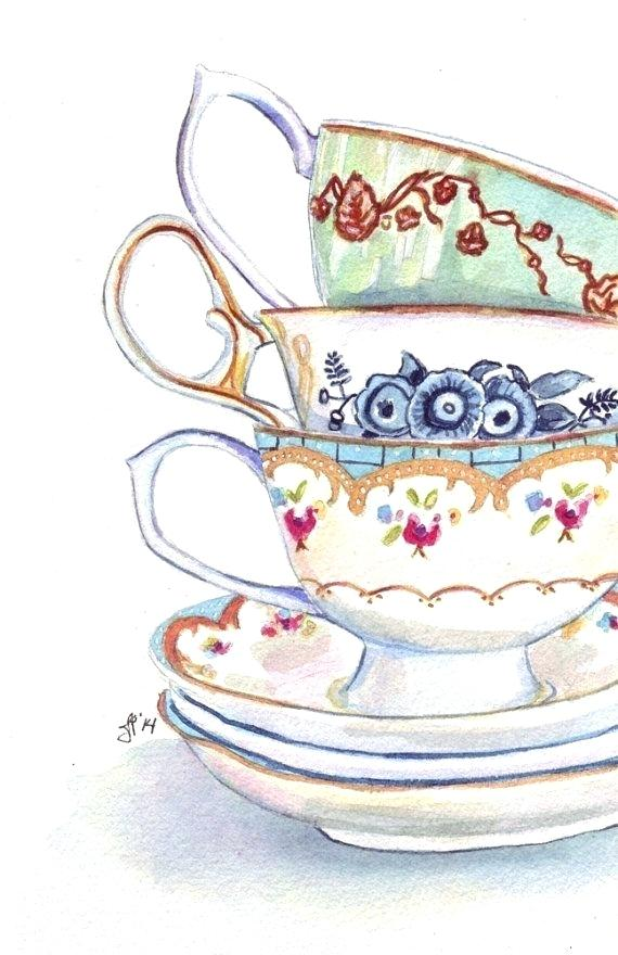 570x880 Stacked Coffee Cup Painting Teacups Still Life Watercolor Painting