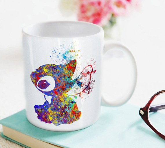 570x513 Stitch Mug Kids Mug Milk Cup Watercolor Art Cup Coffee Mug Etsy