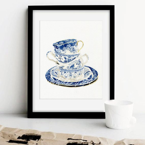 570x570 Vintage Tea Cups Watercolor Art Prints Willow Style Blueampwhite Etsy