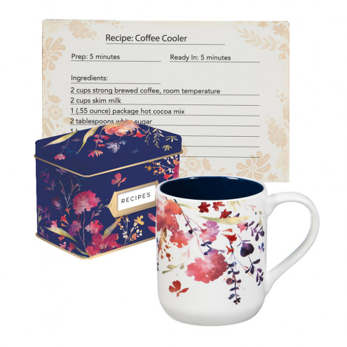 495x495 Watercolor Boho Recipe Tin With Recipe Cards And Ceramic Cup