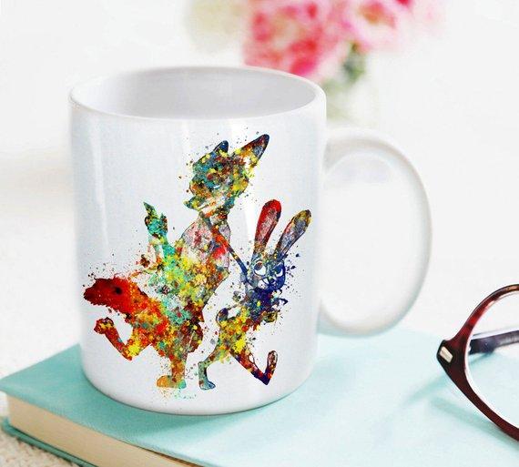 570x513 Zootopia Mug Kids Mug Milk Cup Watercolor Art Cup Coffee Mug Etsy
