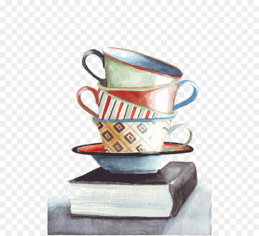 900x820 Coffee Cup Still Life Tea Watercolor Painting