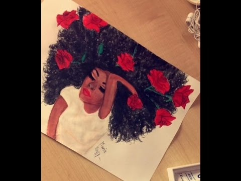 480x360 How To Draw A Black Girl With Curly Hair Painting Watercolor