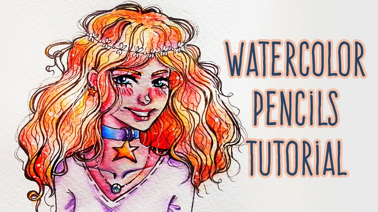 1280x720 How To Use Watercolor Pencils Draw Curly Hair Anime Girl