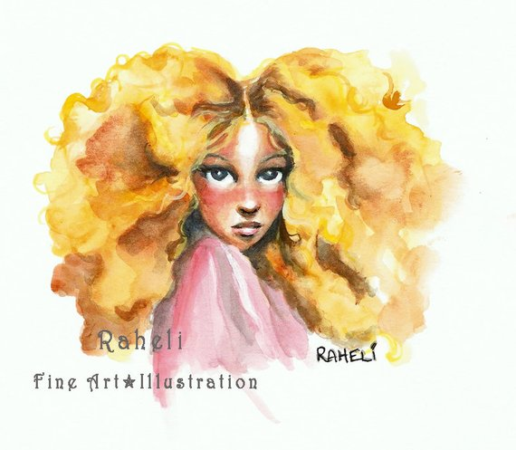 570x497 Items Similar To Goldilocks Watercolor Golden Curly Hair Fairytale