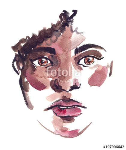 420x500 Portrait Of A Worried Black Girl With Curly Hair Painted In