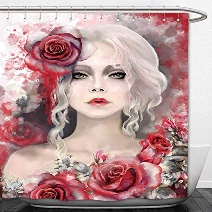 425x425 Interestlee Shower Curtain Beautiful Woman With Blonde