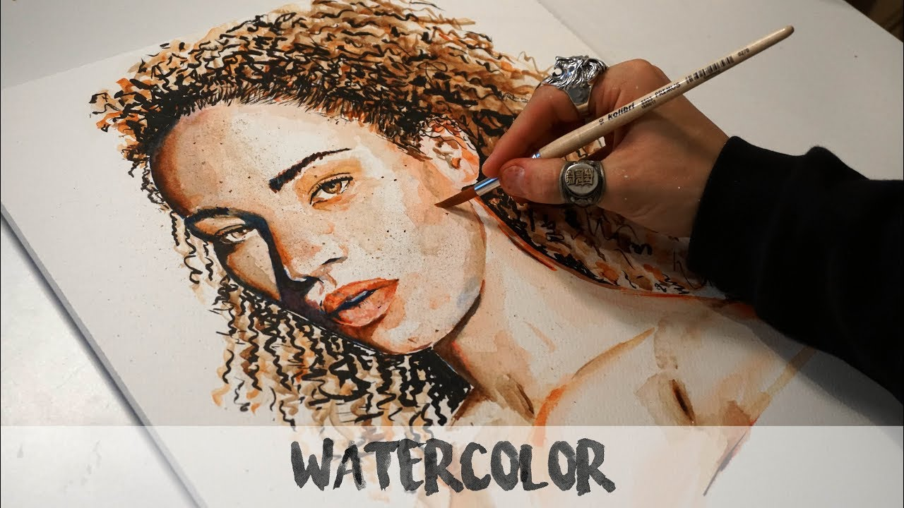1280x720 Watercolor Paintng Curly Hair