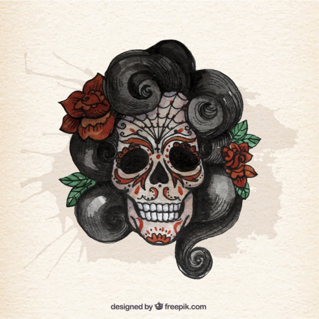 626x626 Watercolor Sugar Skull With Curly Hair Vector Free Download