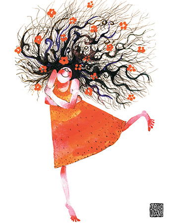 343x451 Curly Hair Girl Self Hug Red Dress Watercolor Greeting Card By