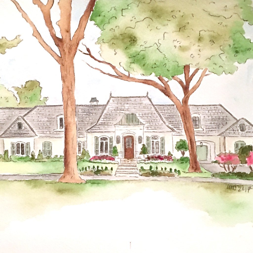 1024x1024 Custom Watercolor Home Portrait