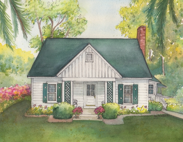 618x481 Custom Watercolor Home Portrait Commissioned Painting Of Your