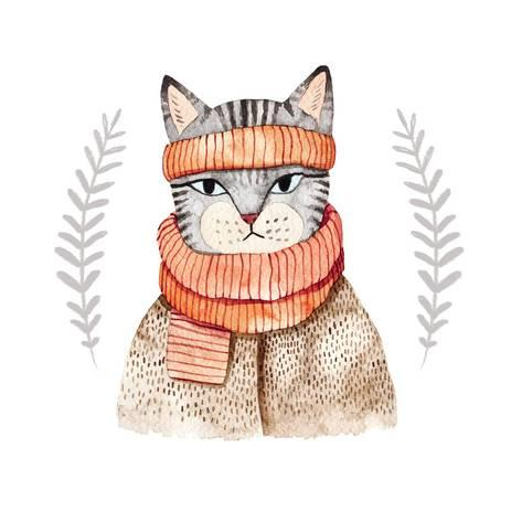 473x473 Cute Cat In Scarf .illustration With Domestic Animal.watercolor