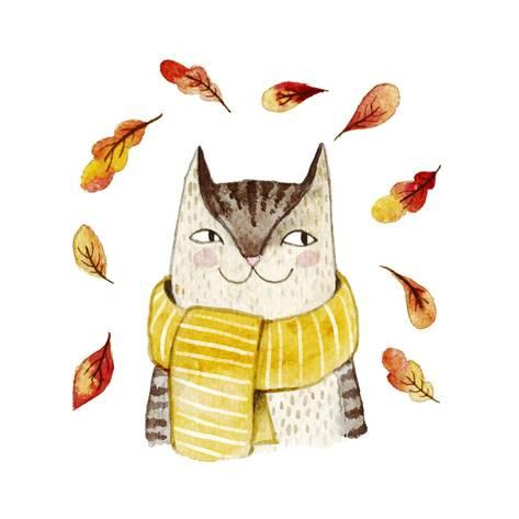473x473 Cute Cat In Scarf With Autumn Leaves. Watercolor Illustration With