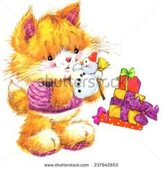 236x246 Cute Cat. Watercolor Funny Cat And Christmas Background With