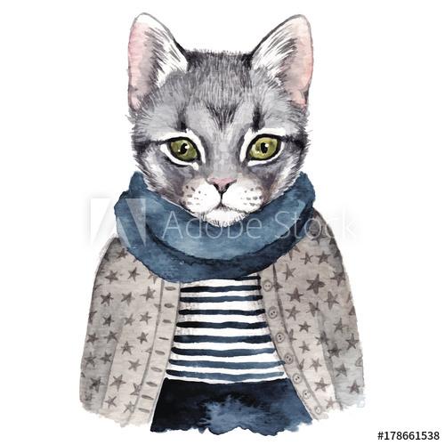 500x500 Cute Cat . Watercolor Hand Drawn Illustration