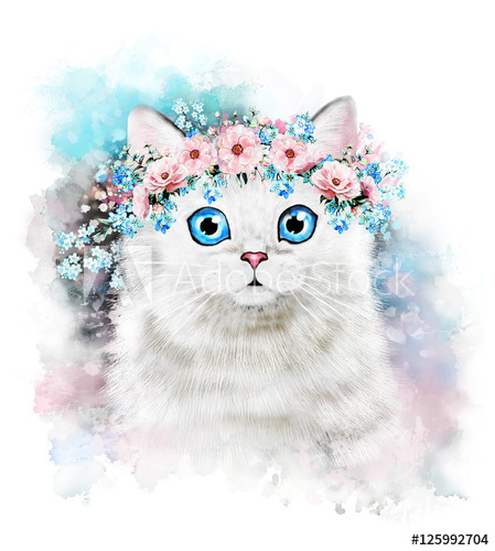 449x500 Cute Cat. Watercolor Cat Illustration. T Shirt Print. Greeting