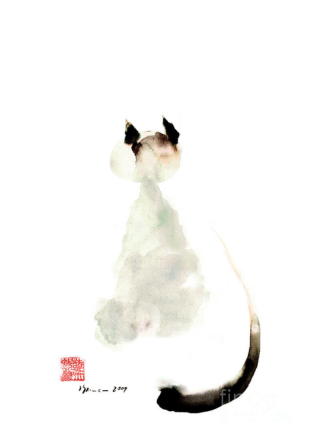 635x900 Meow Curious Cute Kitten Little Cat Watercolor Painting Funny Cats