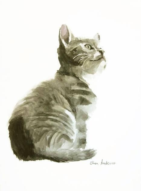 467x632 Original Watercolor Painting, Cat Watercolor, Cat Painting, Cute