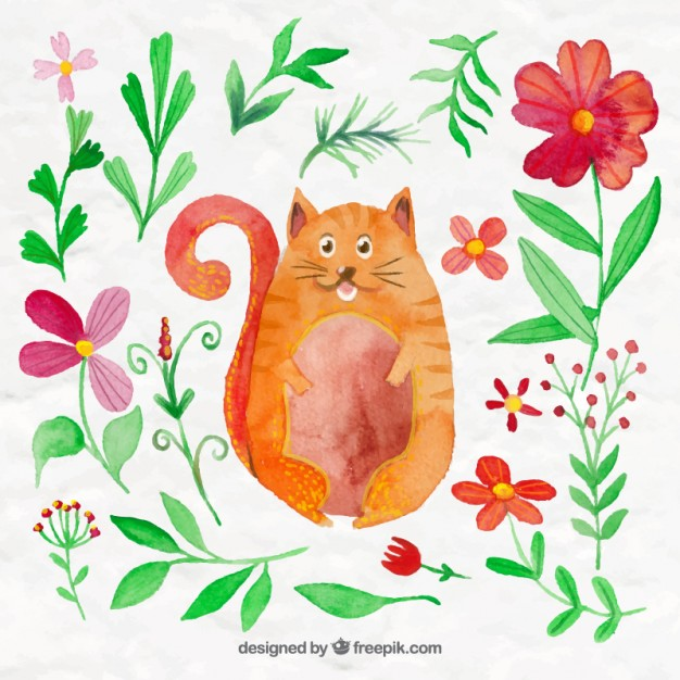 626x626 Watercolor Cute Cat With Flowers And Leaves Vector Free Download