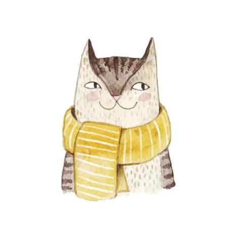 473x473 Cute Cat In Scarf . Watercolor Illustration With Domestic Animal